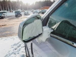 snowy carpark