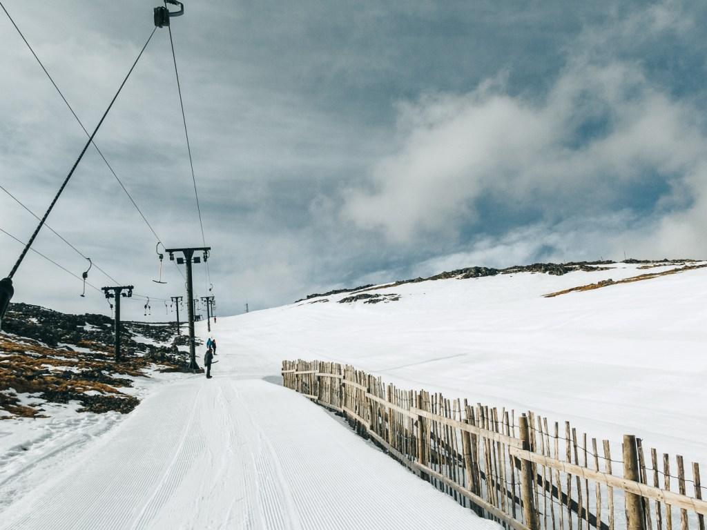 Groomed ski slope