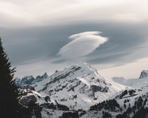 Cloud floating above mountains ofAvoriaz