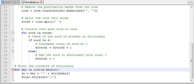 Tampilan Source Code Python