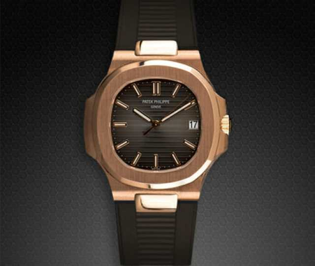 Espresso Brown Rubber Strap For Patek Philippe Nautilus 5711 Rose Gold