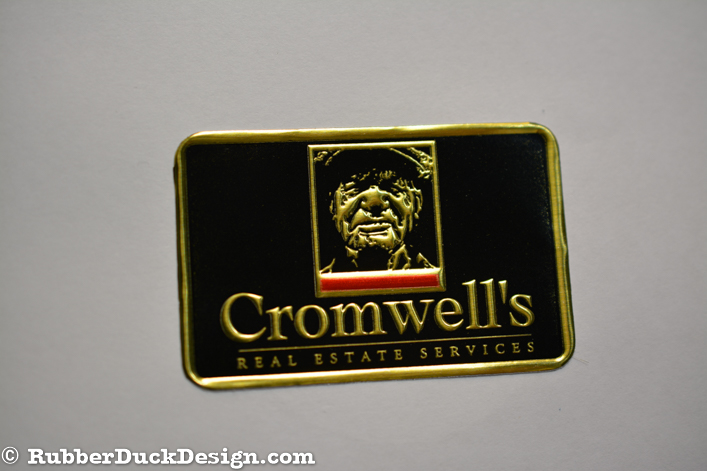 Embossed Gold Foil Seal with Black and Red Tint - Rectangle Corporate Seal
