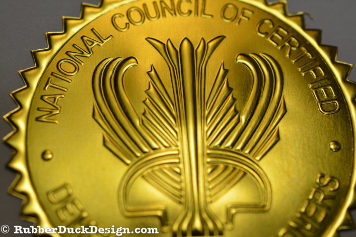 Blind Embossed Gold Foil Seal - Certificate Seal