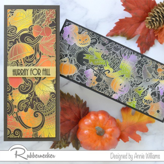 Rubbernecker Blog Autumn-Slimline-Cards-with-Selective-Josephs-Coat-Technique-by-Annie-Williams-Duo