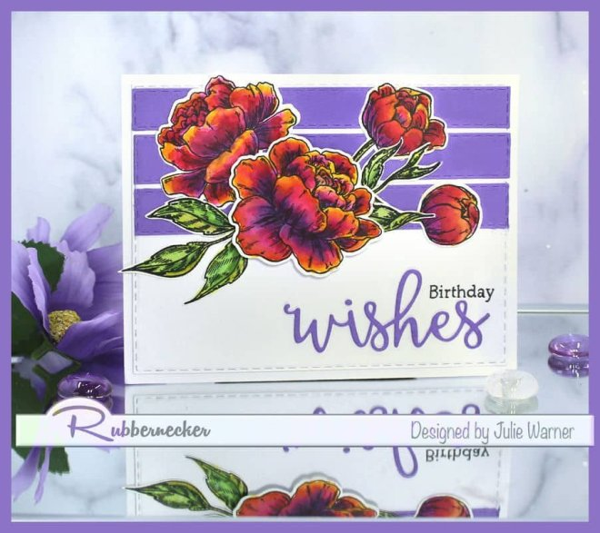 a handmade card with peonies created using new stamps and dies from Rubbernecker