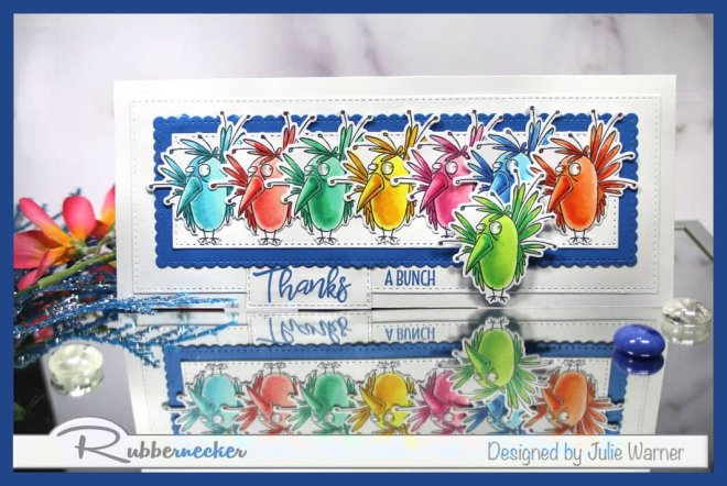 the same stamp using repeat stamping slimline style to create a fun card with eight identical birds
