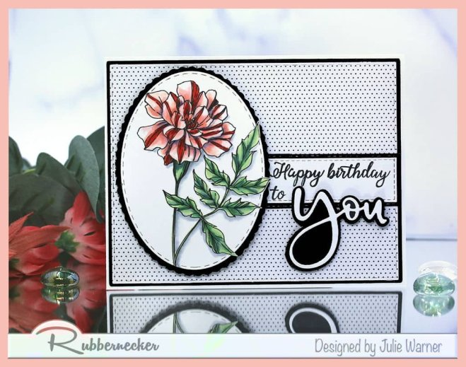 birthday card design - black and white based - with touches of color is classic as show in this handmade card using stamps and dies from Rubbernecker