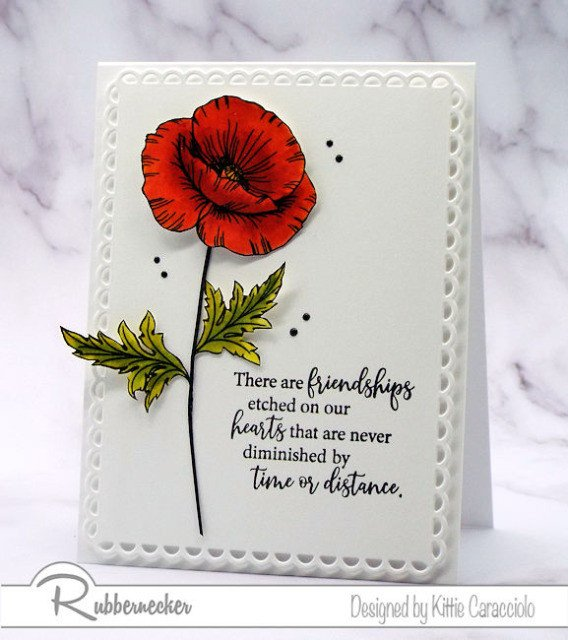 This CAS poppy card with its vibrant red flower against pure white is quick and easy to make with items from Rubbenercker