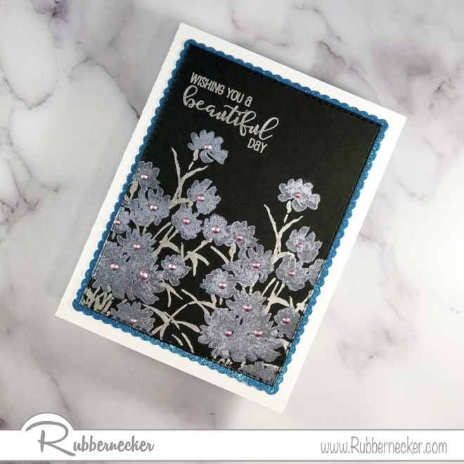 use pigment ink on black card stock to make a card with an ethereal look