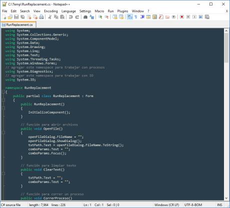 Notepad++ with custom theme