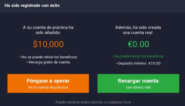 IQ Option cuenta demo gratuita