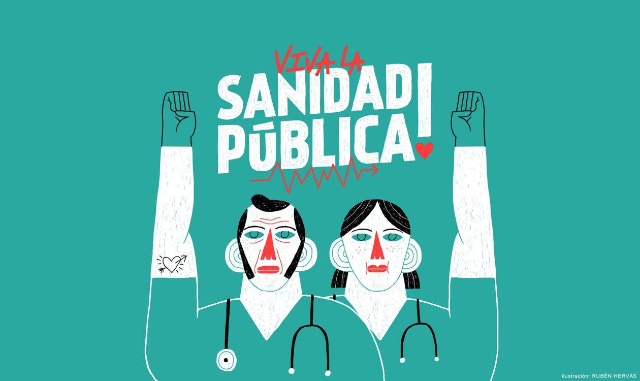 Ilustración a favor de la sanidad pública realizada durante la cuarentena del COVID-19 y publicada diriamente por el medio de comunicación ARAINFO a modo de aplauso virtual en reconocimiento al personal sanitario.