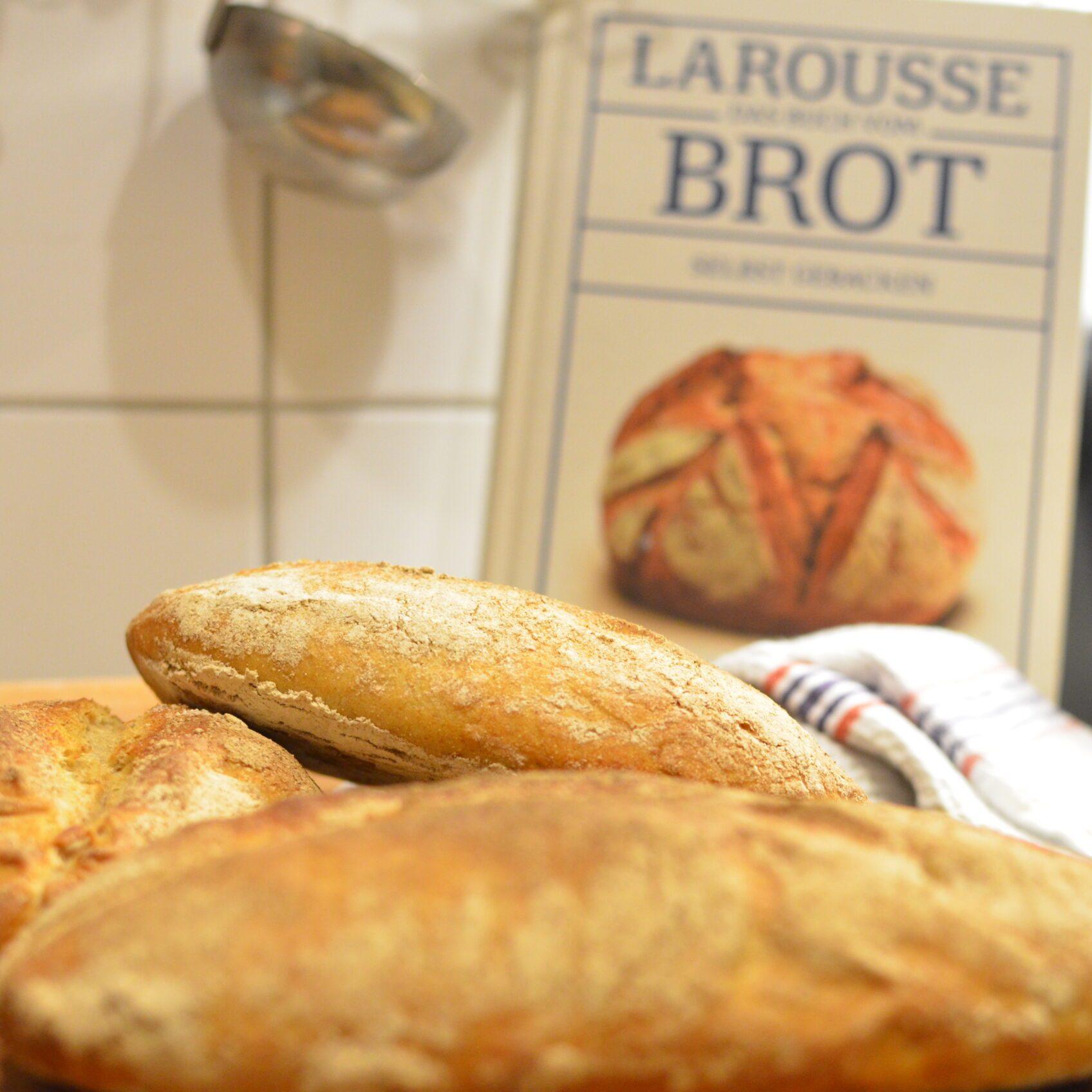 Nahaufnahme von Broten. Im Hintergrund leicht unscharf ein Brotbackbuch