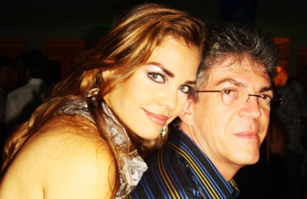 Pâmela Bório e Ricardo Coutinho (Foto: Arquivo do Blog do Tião Lucena)