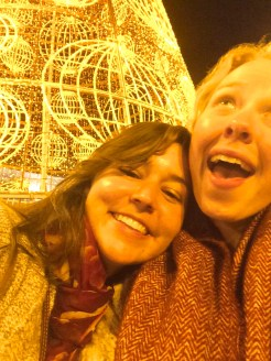 Alexa and I derping in front of the Christmas tree in Sol.
