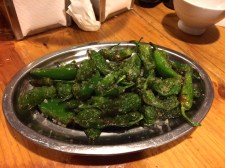 Pimientos de padrón--amazing dish of roasted green peppers