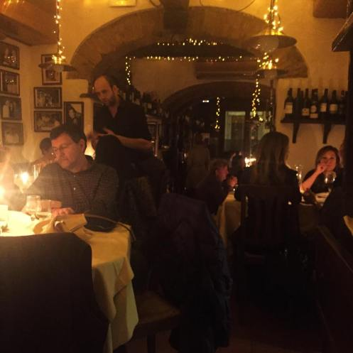 Interior of La Giostra: mostly candle-lit, intimate, warm colors. Would make an amazing date place, I'd imagine.