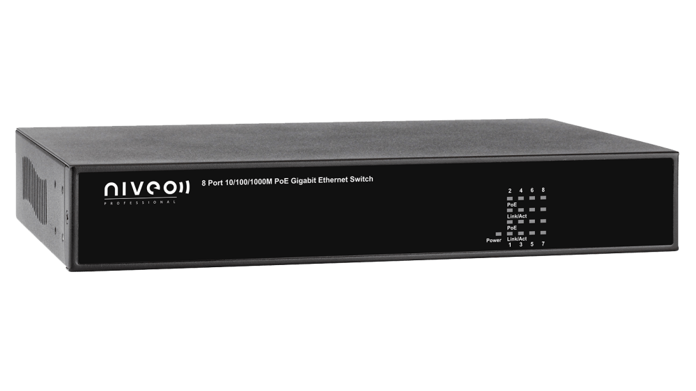 medium resolution of niveo 8 port gigabit high power poe rear facing switch