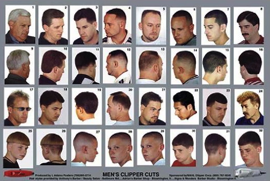 Mens Clipper Cuts Gray Poster  Rubinovs