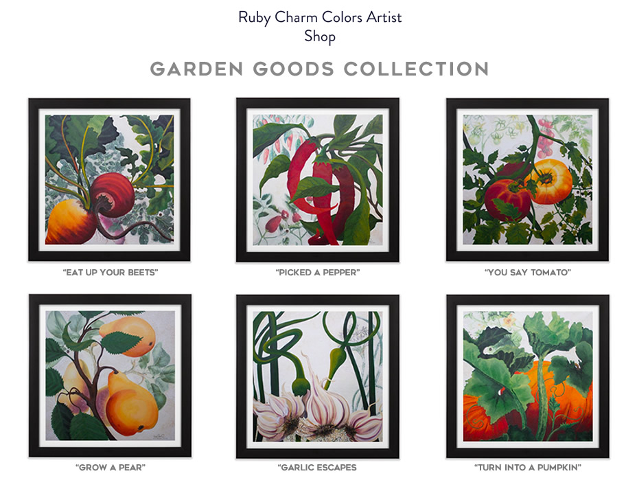 """Ruby Charm Colors """"Garden Goods"""" Collection of paintings"""