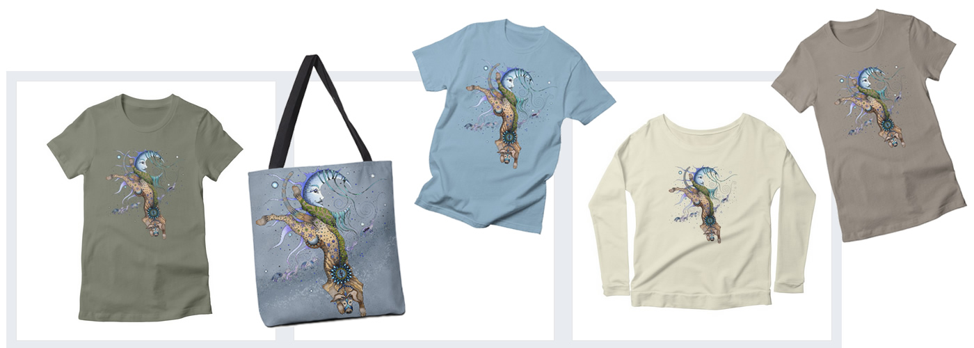 Bo Dog and the Moon design by Ruby Charm Colors: totes, shirts and more