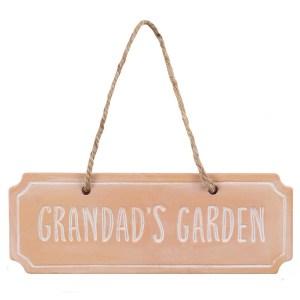 Grandads Garden Terracotta Hanging Sign