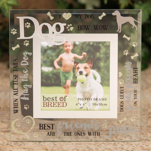 "4"" X 4"" Dog Glass Photo Frame"