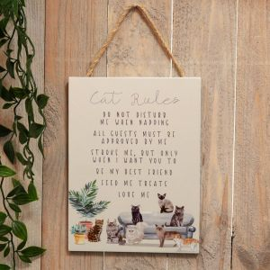 Wooden Hanging Cat Rules Plaque