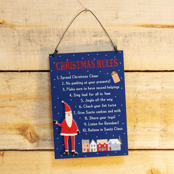 Christmas Rules Novelty Hanging Plaque