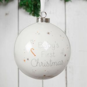 White Ceramic Baby's First Christmas Bauble