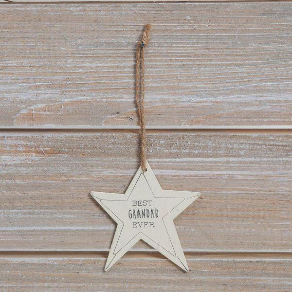 Best Grandad Ever Star Plaque Greeting Card