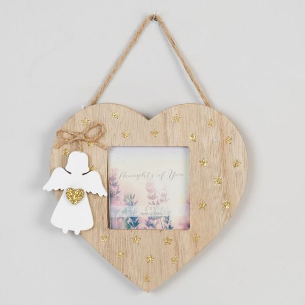 Hanging Heart Wooden Frame with Angel