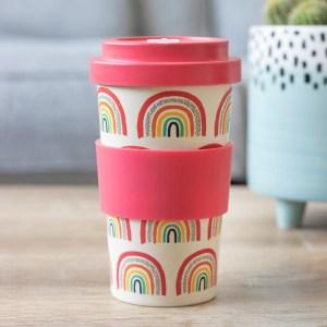 Rainbow Print Bamboo Eco Travel Mug