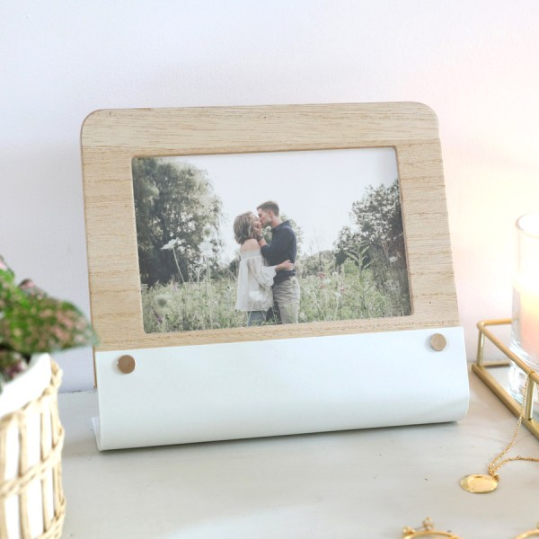 Curved Metal Wooden Photo Frame