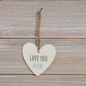Love You Mum Heart Plaque Greeting Card