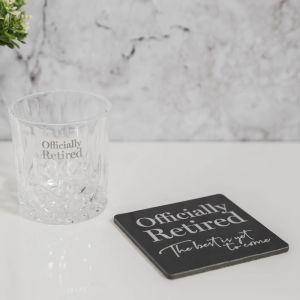 Retired Glass Whiskey Tumbler & Coaster Set