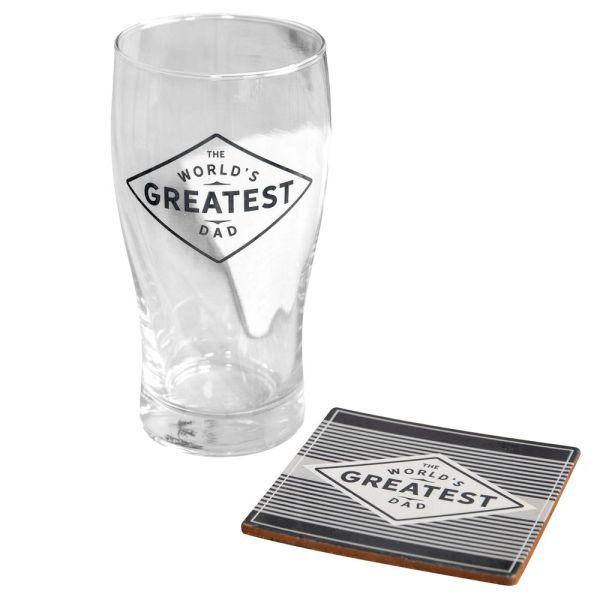 World's Greatest Dad Pint Glass & Coaster Set