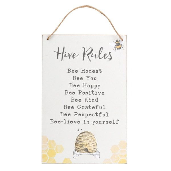 Hive Rules Hanging Sign