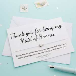 Thank You Maid Of Honour Wish Bracelet Card