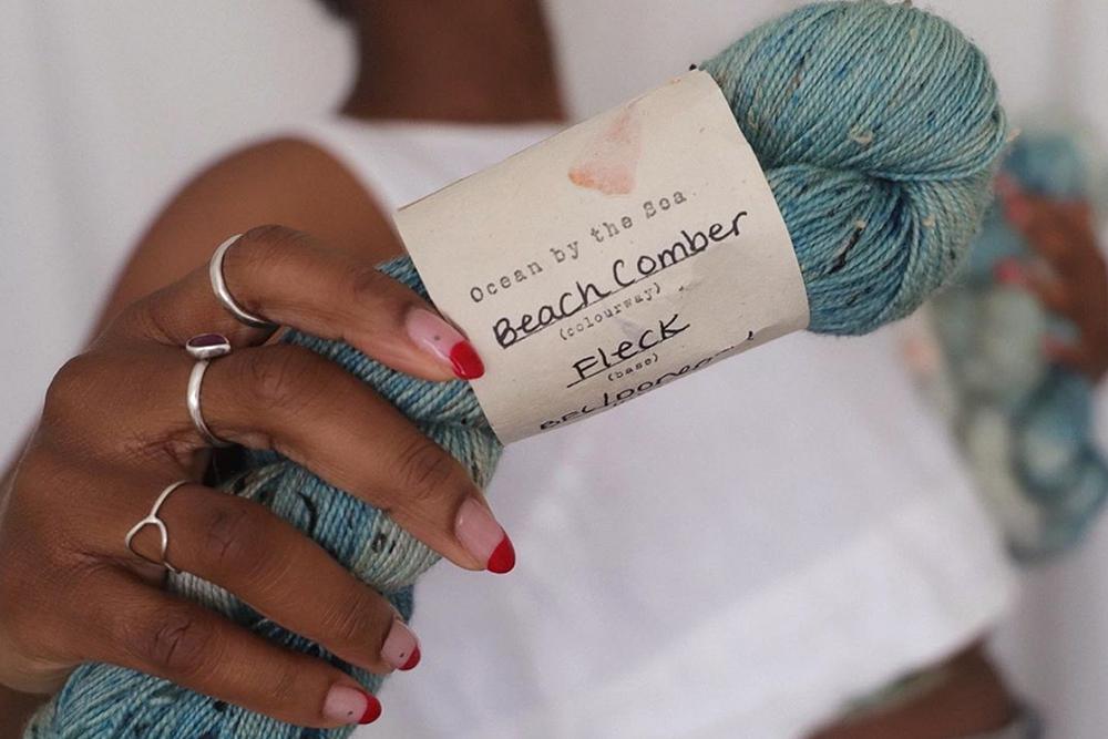 Beach comber botanically dyed blue yarn