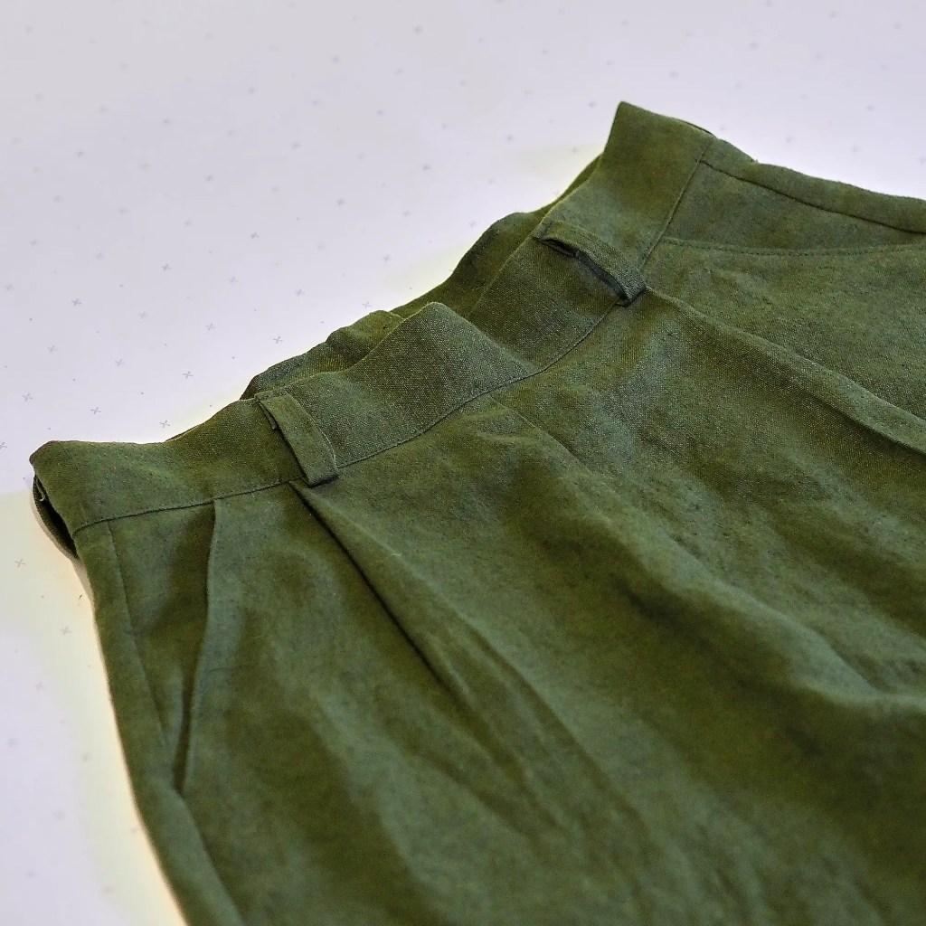 close up details of hemp fabric skirt