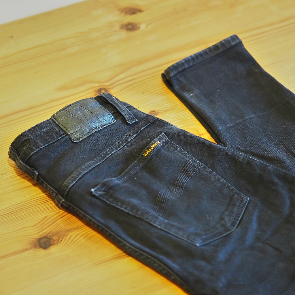 Flat shot of susatainable nudie jeans