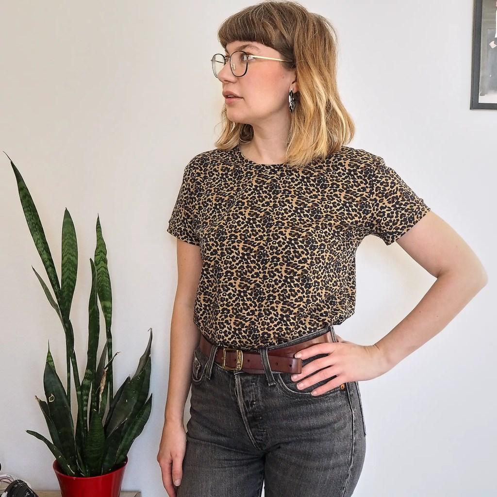 Ruby Rose wearing a leopard T shirt
