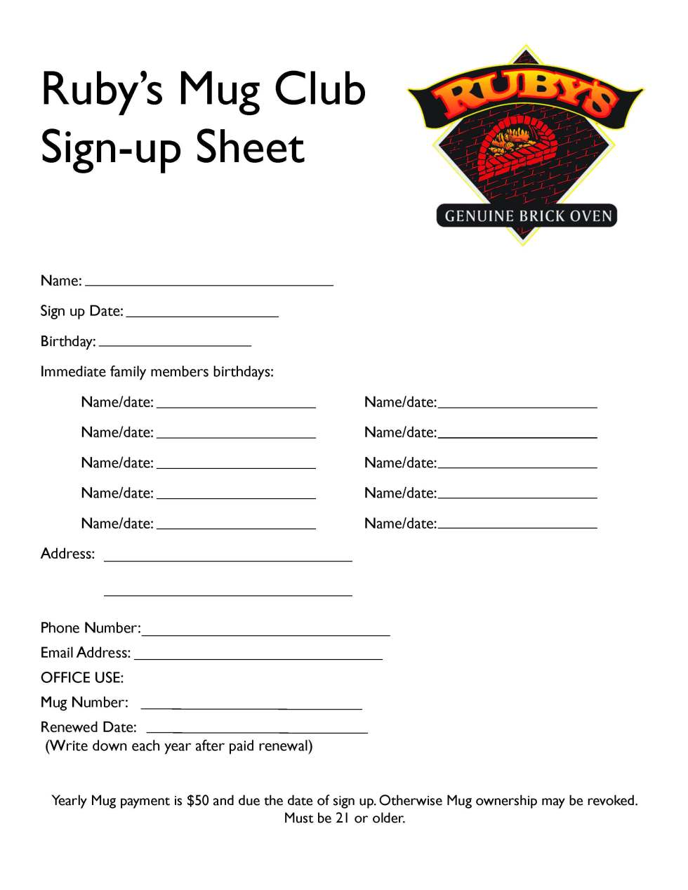 mug club sign up sheet ruby s wood grill