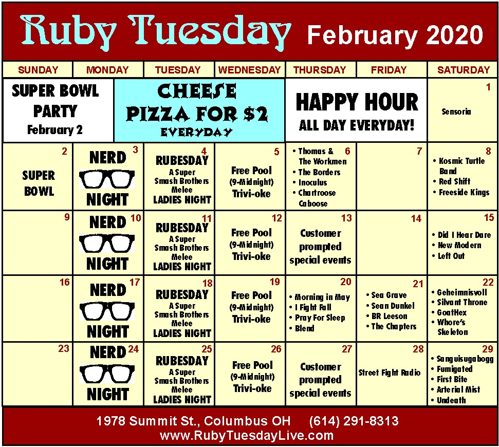ruby tuesday entertainment in