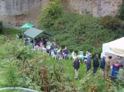 Tea and jazz in the castle moat .