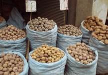 Kartoffelsäcke in La Paz, Bolivien