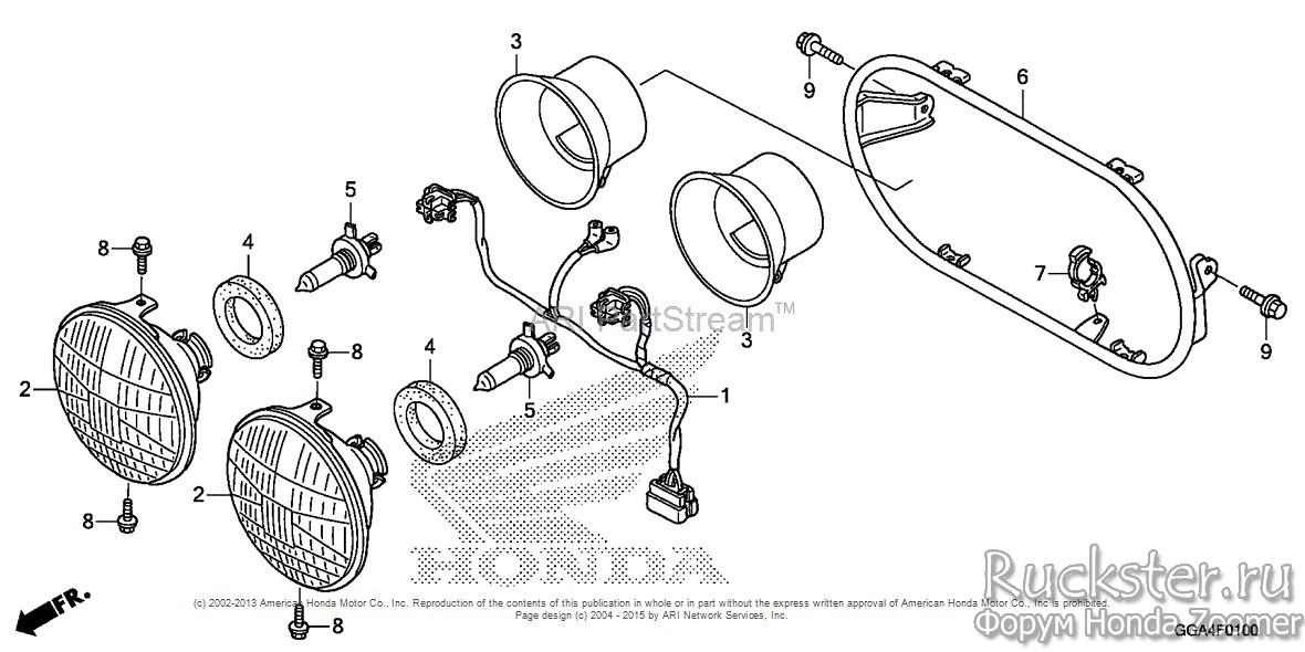 Передняя фара Honda Zoomer