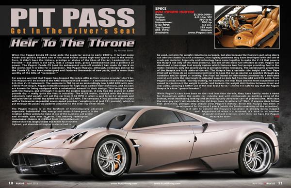 2012 Pagani Huayra Rukus Magazine