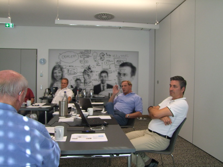 """Core team members in """"concept room"""" of Welling's park hotel discussing"""